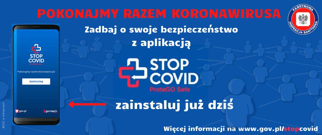 Na niebieskim tle informacje o aplikacji STOP_Covid