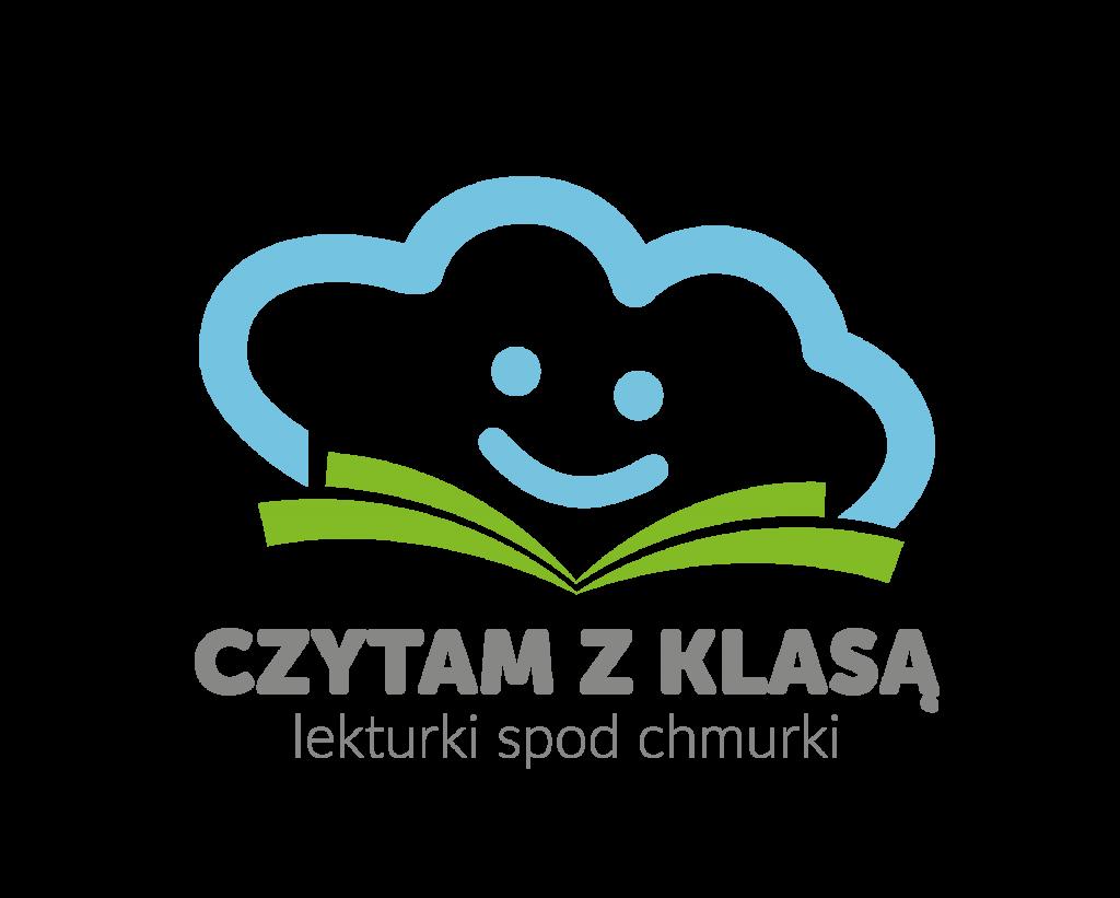 Logo - niebieska chmurka na zielonej otwartej książce. Pod spodem napis CZYTAM Z KLASĄ lekturki spod chmurki