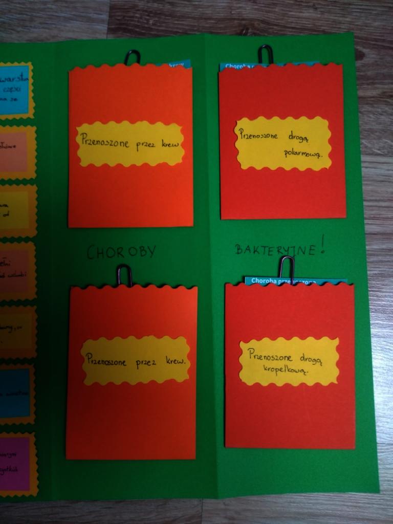 Na zielonym tle cztery czerwone kartki w kształcie prostokąta