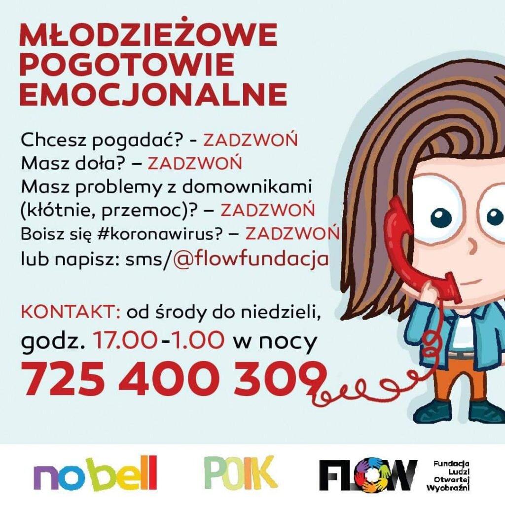 numery telefonów  Młodzieżowego Pogotowia Emocjonalnego